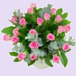 Boeket roze roos/groen