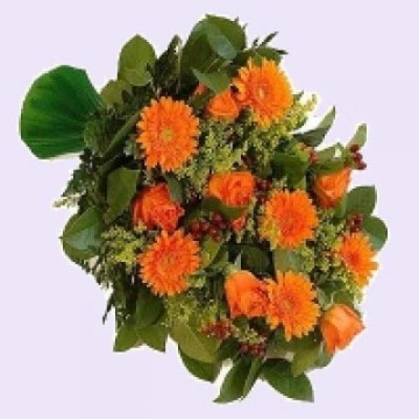Rouwboeket oranje