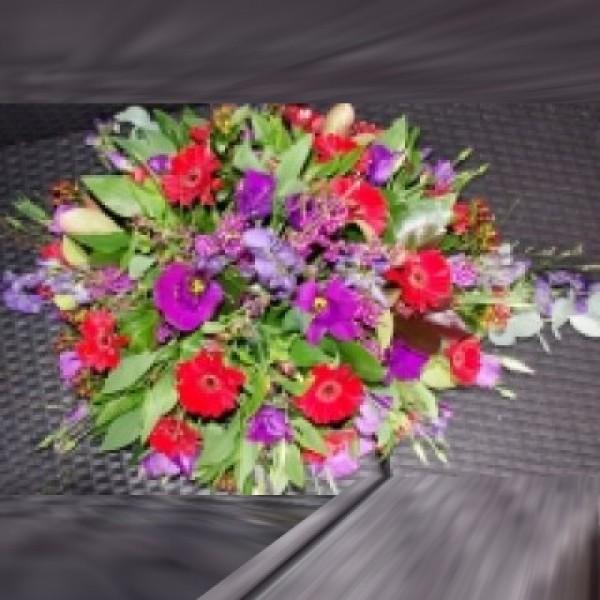 Rouwstuk rood/paars